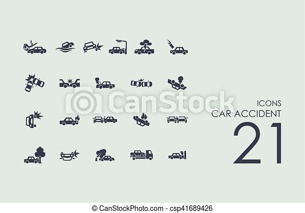 Un conjunto de iconos de accidentes de coche - csp41689426