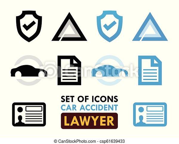 Un conjunto de iconos para el abogado de accidentes de coche - csp61639433