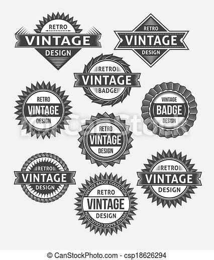Un conjunto de placas retro vintage - csp18626294