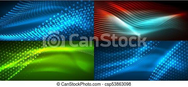 Un conjunto de vectores neón fluyendo ondas abstractas - csp53863098