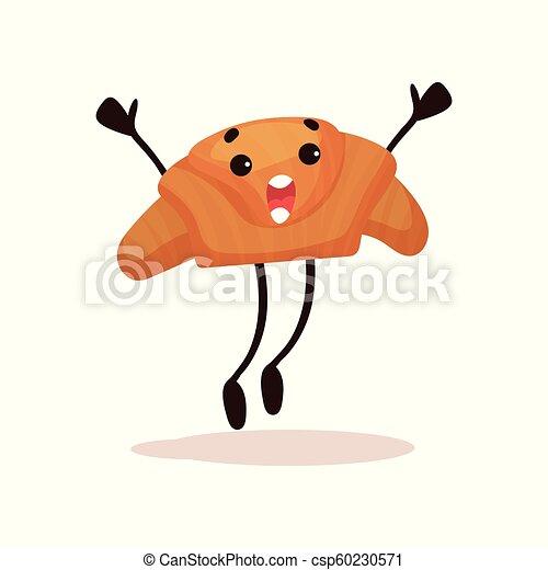 Un croissant mono con cara graciosa saltando con brazos levantados, caricatura humanizada de caricatura vector de personaje de postres ilustración en un fondo blanco - csp60230571