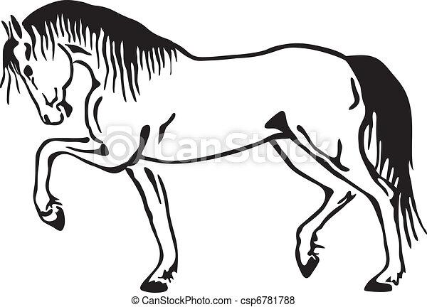 Un dibujo del vector de caballos - csp6781788