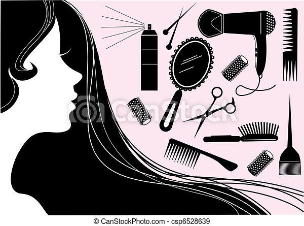 Un elemento de belleza del estilo del pelo. Salón del vector - csp6528639