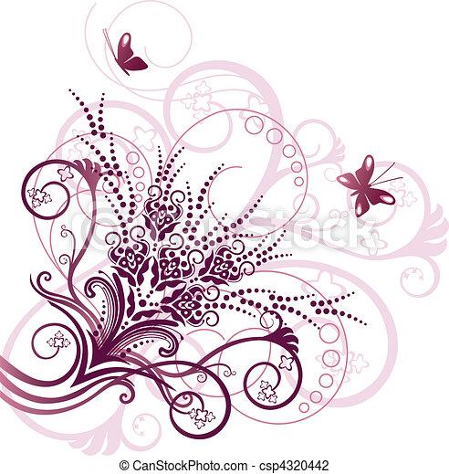 Un elemento de diseño floral rosa - csp4320442