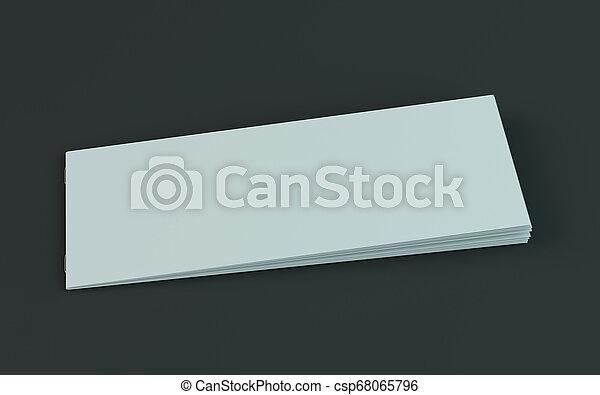 Un folleto en blanco, una revista, una maqueta de folletos aislada en el fondo oscuro. 3D - csp68065796