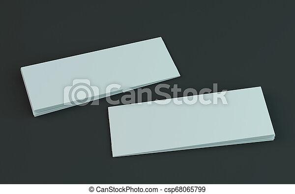 Un folleto en blanco, una revista, una maqueta de folletos aislada en el fondo oscuro. 3D - csp68065799