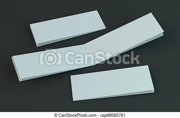 Un folleto en blanco, una revista, una maqueta de folletos aislada en el fondo oscuro. 3D - csp68065761