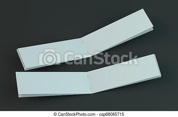 Un folleto en blanco, una revista, una maqueta de folletos aislada en el fondo oscuro. 3D - csp68065715