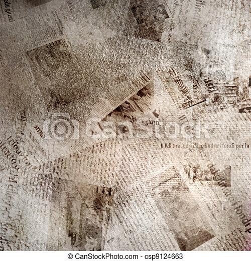 Un fondo abstracto con un viejo periódico - csp9124663