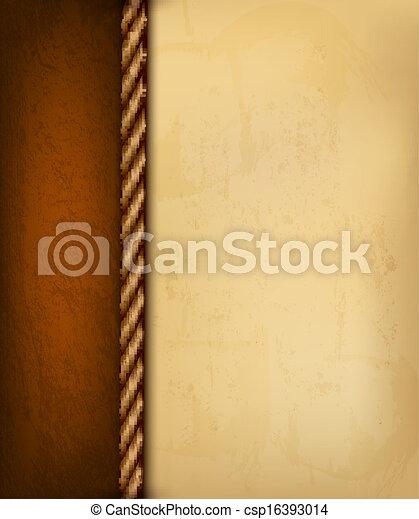 Un fondo con papel viejo y cuero marrón. Ilustración del vector. - csp16393014