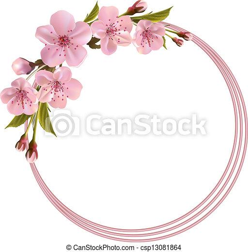 Un fondo de primavera con flores rosas de cereza - csp13081864
