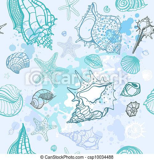Un fondo marino. Ilustración del vector a mano - csp10034488