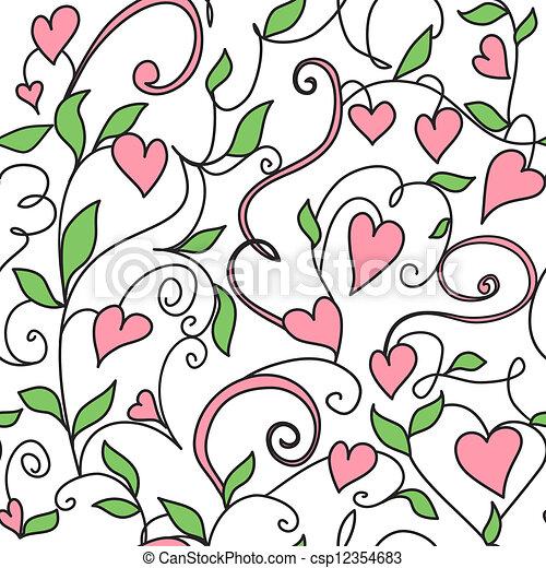 Un fondo sin semen con adornos de corazones - csp12354683