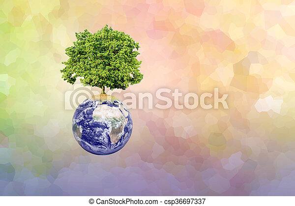 Un gran árbol en la tierra y un pasado abstracto moderno - csp36697337
