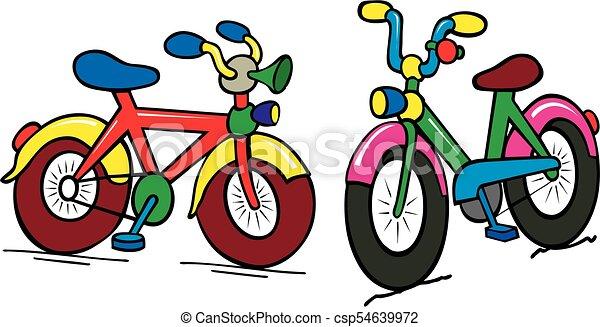 Un grupo de chicos de color en bicicleta - csp54639972