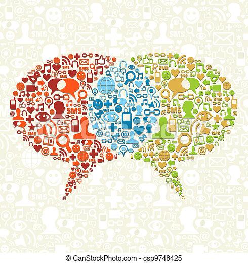Un icono social de los medios de comunicación en burbujas - csp9748425