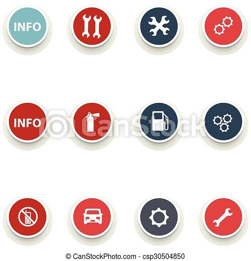 Un juego de iconos redondos para el servicio de coches - csp30504850