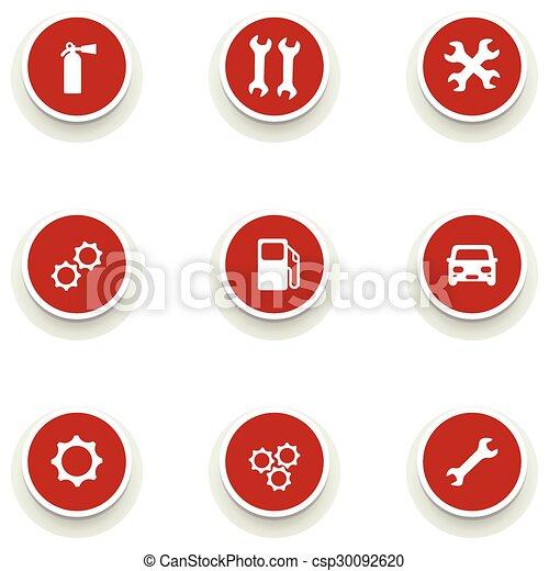 Un juego de iconos redondos para el servicio de coches - csp30092620