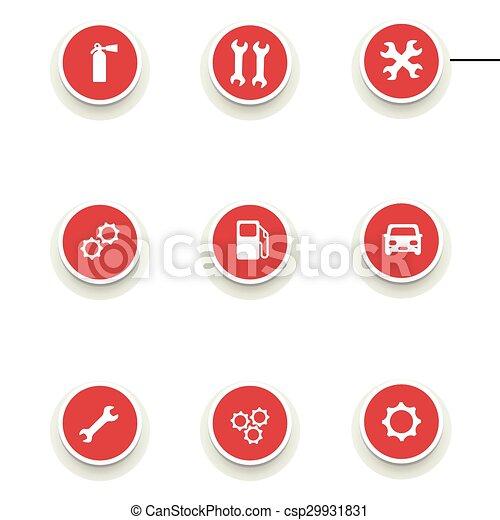 Un juego de iconos redondos para el servicio de coches - csp29931831