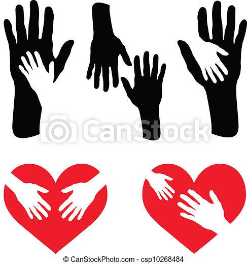 Un juego de manos y mano en el corazón rojo - csp10268484