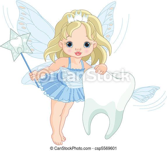 Un lindo hada de los dientes volando con dientes - csp5569601