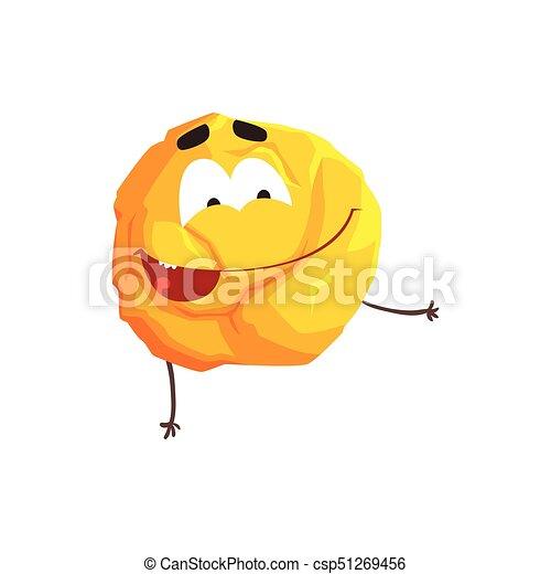 Un lindo personaje de planeta amarillo humanizado, esfera con cara graciosa vector de ilustración vectorial - csp51269456