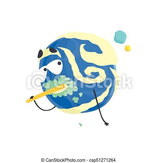Un lindo personaje de planeta azul humanizado cepillándose los dientes, una esfera con divertida caricatura vector de ilustración - csp51271264
