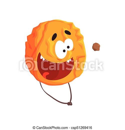 Un lindo personaje de Venus humano, esfera naranja con caricatura graciosa vector de ilustración - csp51269416