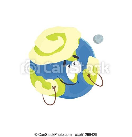 Un lindo personaje humano de planeta Tierra, una esfera con cara graciosa vector de ilustración vectorial - csp51269428