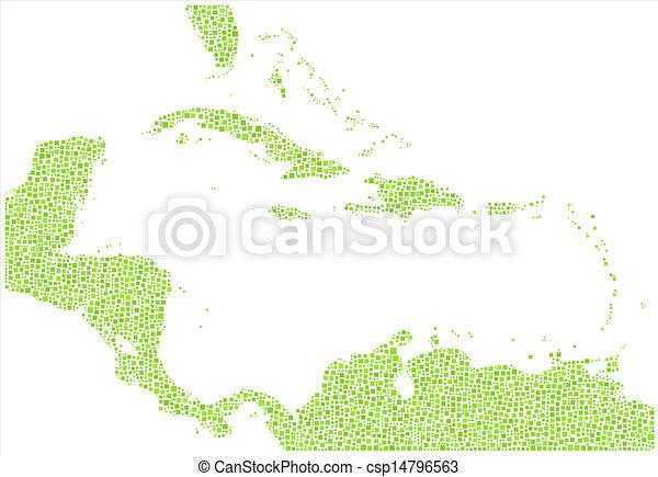 Un mapa aislado de las islas caribbeanas - csp14796563