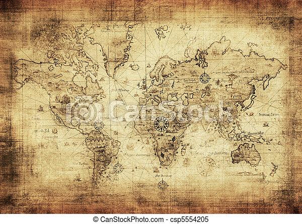Un mapa antiguo del mundo - csp5554205
