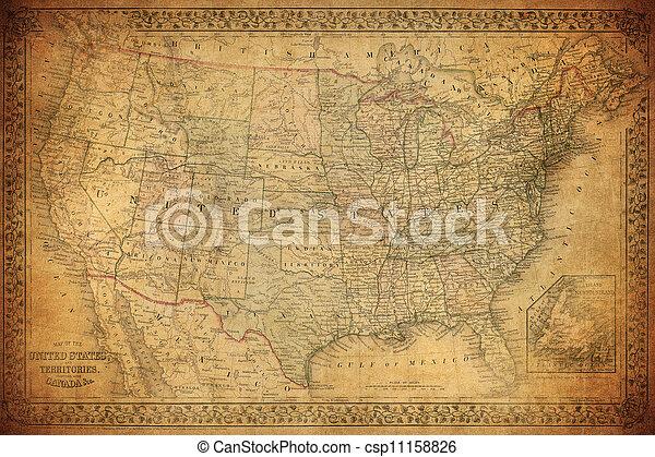Un mapa de los Estados Unidos de 1867 - csp11158826