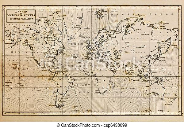 Un mapa del mundo antiguo dibujado - csp6438099