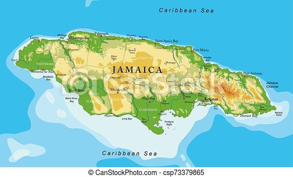 Un mapa físico de Jamaica - csp73379865