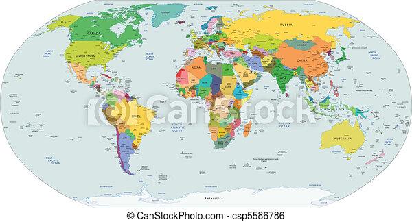 Un mapa político global del mundo. - csp5586786