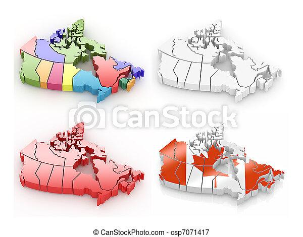 Un mapa tridimensional de Canadá en blanco y aislado - csp7071417