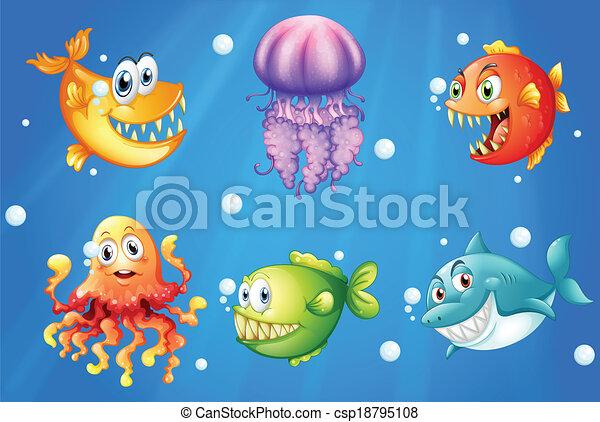 Un mar con criaturas sonrientes - csp18795108