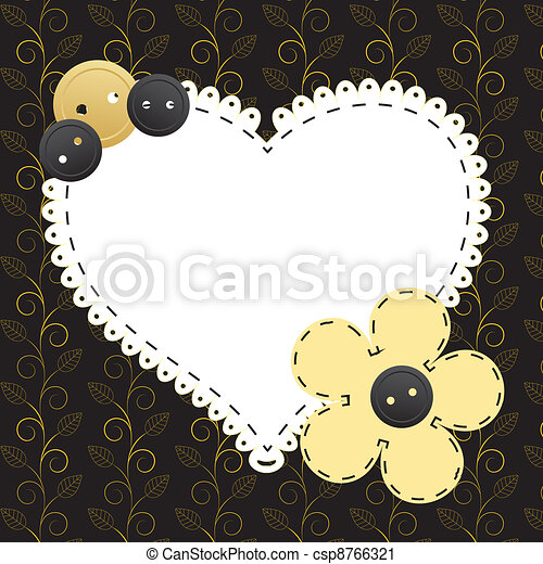 Un marco de oro en el fondo floral. Ilustración del vector. - csp8766321