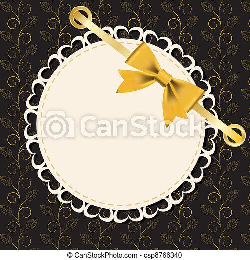 Un marco de oro en el fondo floral. Ilustración del vector. - csp8766340