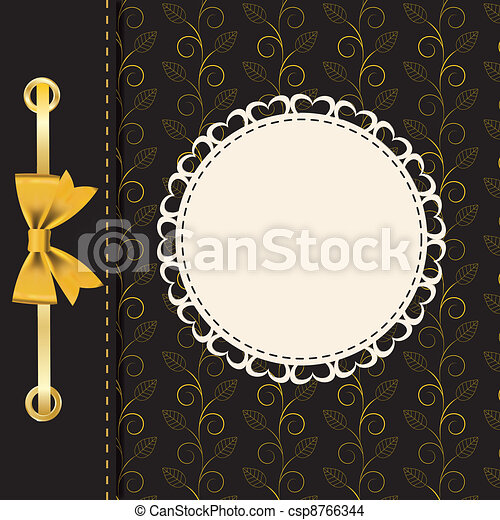 Un marco de oro en el fondo floral. Ilustración del vector. - csp8766344