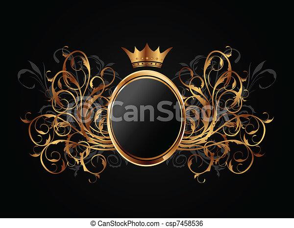 Un marco floral con corona herádica - csp7458536