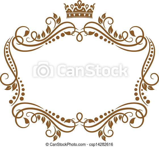 Un marco retro con corona real y flores - csp14282616