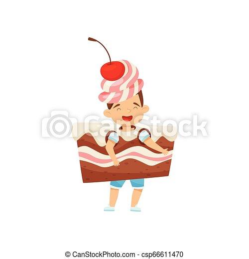 Un niñito con un disfraz de pastel con crema y cereza. Un postre sabroso. Niño con cara feliz. Diseño vectorial plano - csp66611470