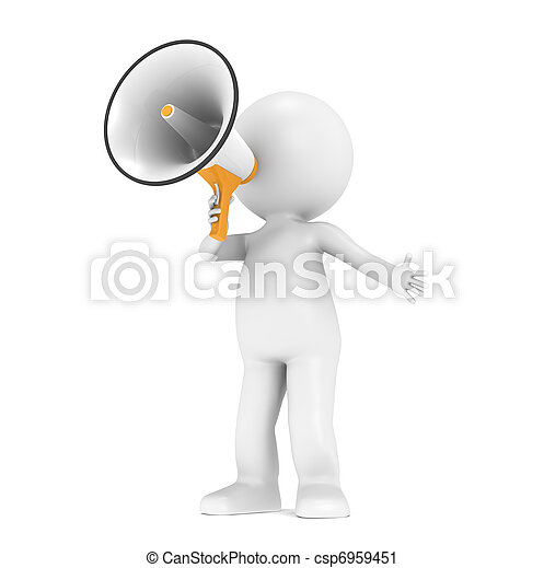 Un pequeño personaje humano con un megáfono - csp6959451