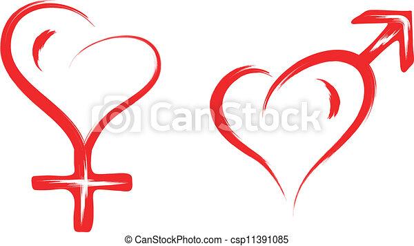 Un símbolo del corazón masculino y femenino - csp11391085