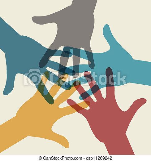 Un símbolo del equipo. Manos multicolores - csp11269242