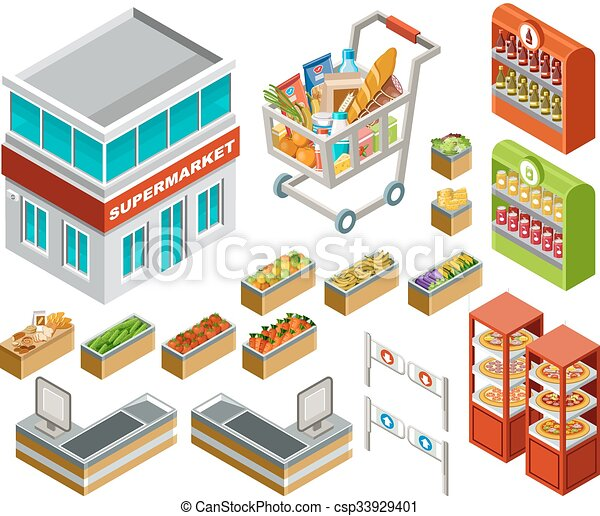 Un supermercado isométrico - csp33929401