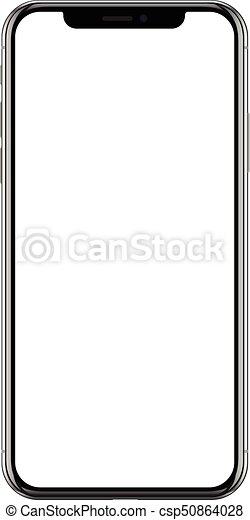 Un teléfono móvil nuevo y realista, un smartphone negro - csp50864028