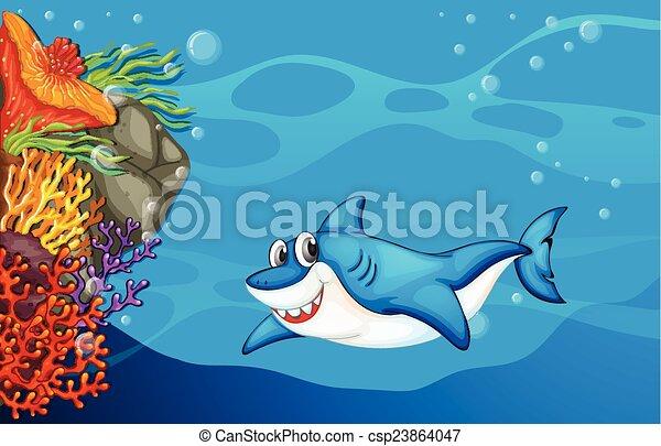 Un tiburón bajo el mar - csp23864047