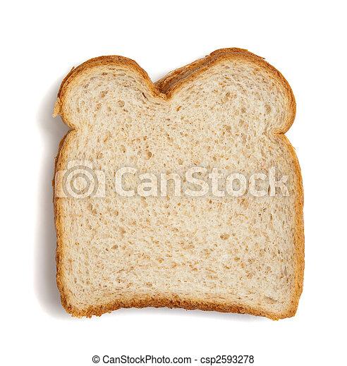 Un trozo de pan de trigo en un fondo blanco - csp2593278